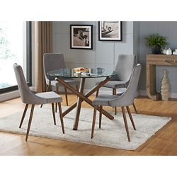 !nspire Cora Solid Wood Walnut Parson Armless Dining Chair with Grey Polyester Seat - (Set of 2)