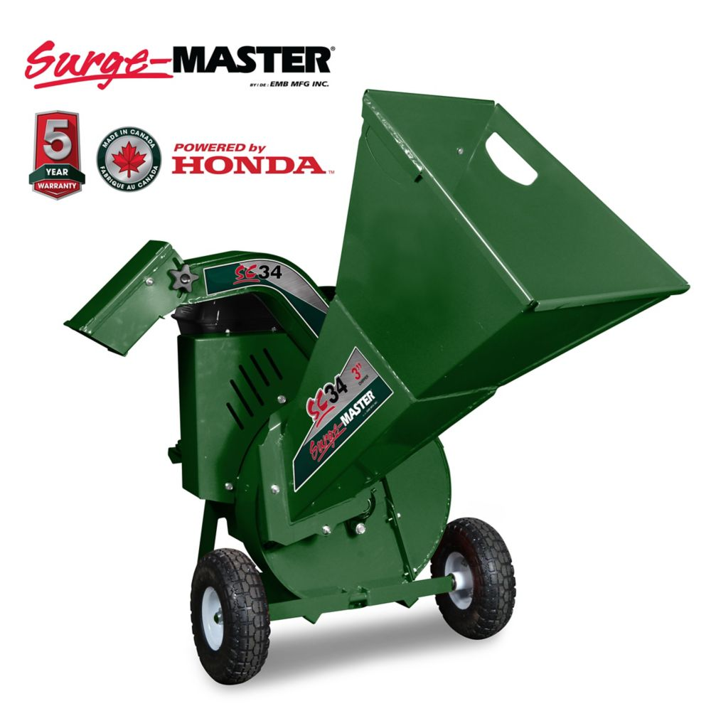 3 Inch chipper, Honda GC190 engine, blower discharge with Positional Deflector