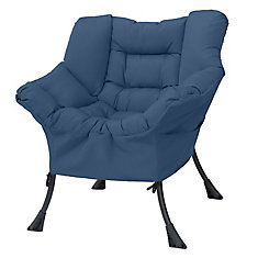 31.5-inch W X 27.1-inch L X 33.8-inch H Compact Cozy Polyester & Steel Patio Chair in Blue Grey