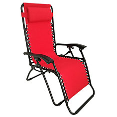 Chaise longue Gravity à positions multiples, 35,4 po x 25,5 po x 44,4 po, rouge