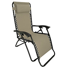 Multi-Position Zero Gravity Lounge Chair- Beige 35.4 inch W X 25.5 inch L X 44.4 inch H