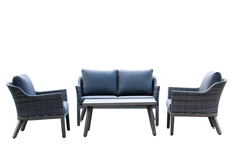 Ensemble de conversation de terrasse en osier et acier gris 4 tons Crown View avec coussin