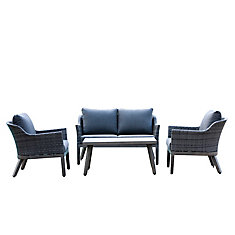 Crown View 4-Piece Two-Tone Grey Wicker & Steel Patio Chat Set with Grey Cushion