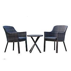 Ensemble de patio en osier bicolore gris bicolore Crown View avec coussin gris