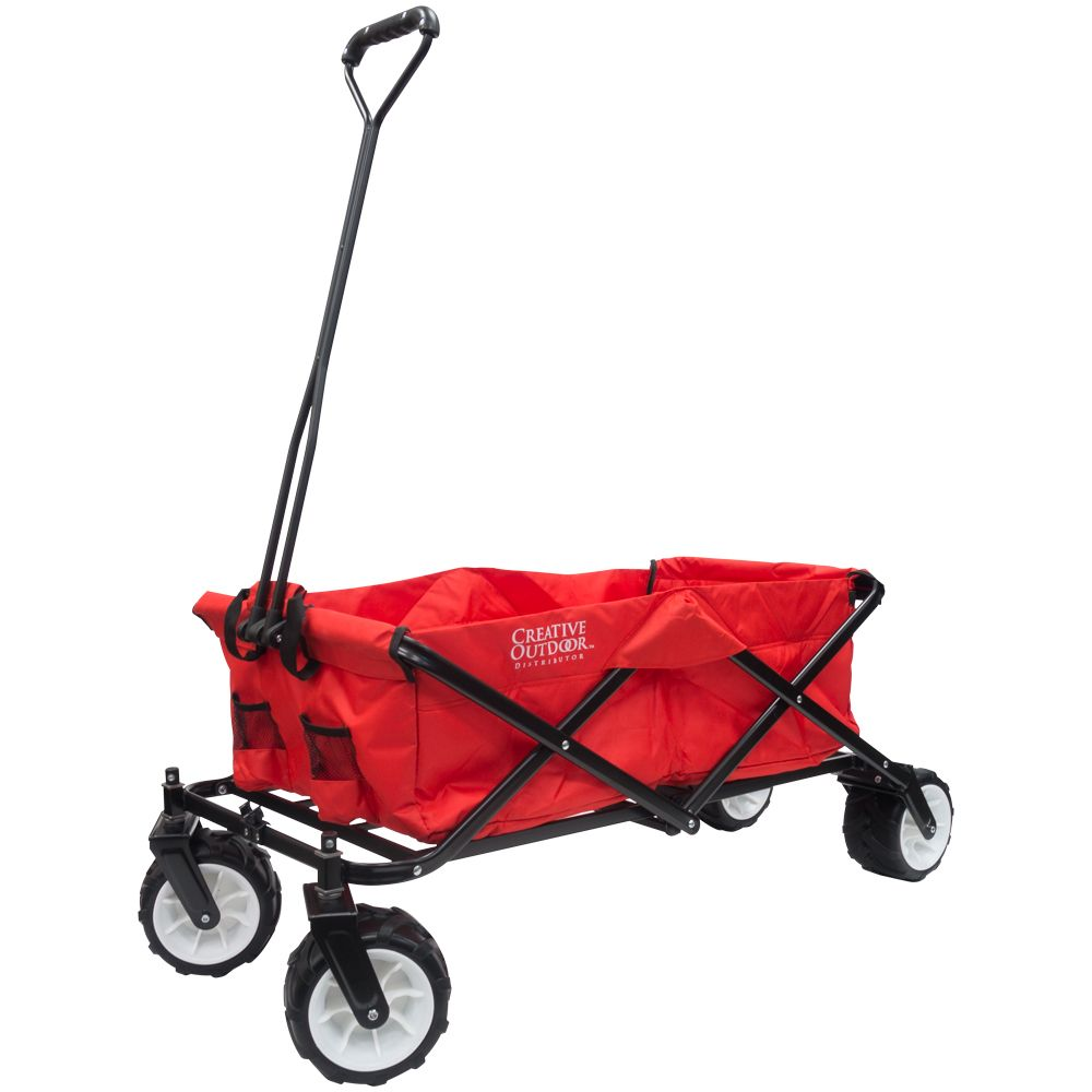 Creative Outdoor All-Terrain Big Wheels Folding Wagon in Red & Black
