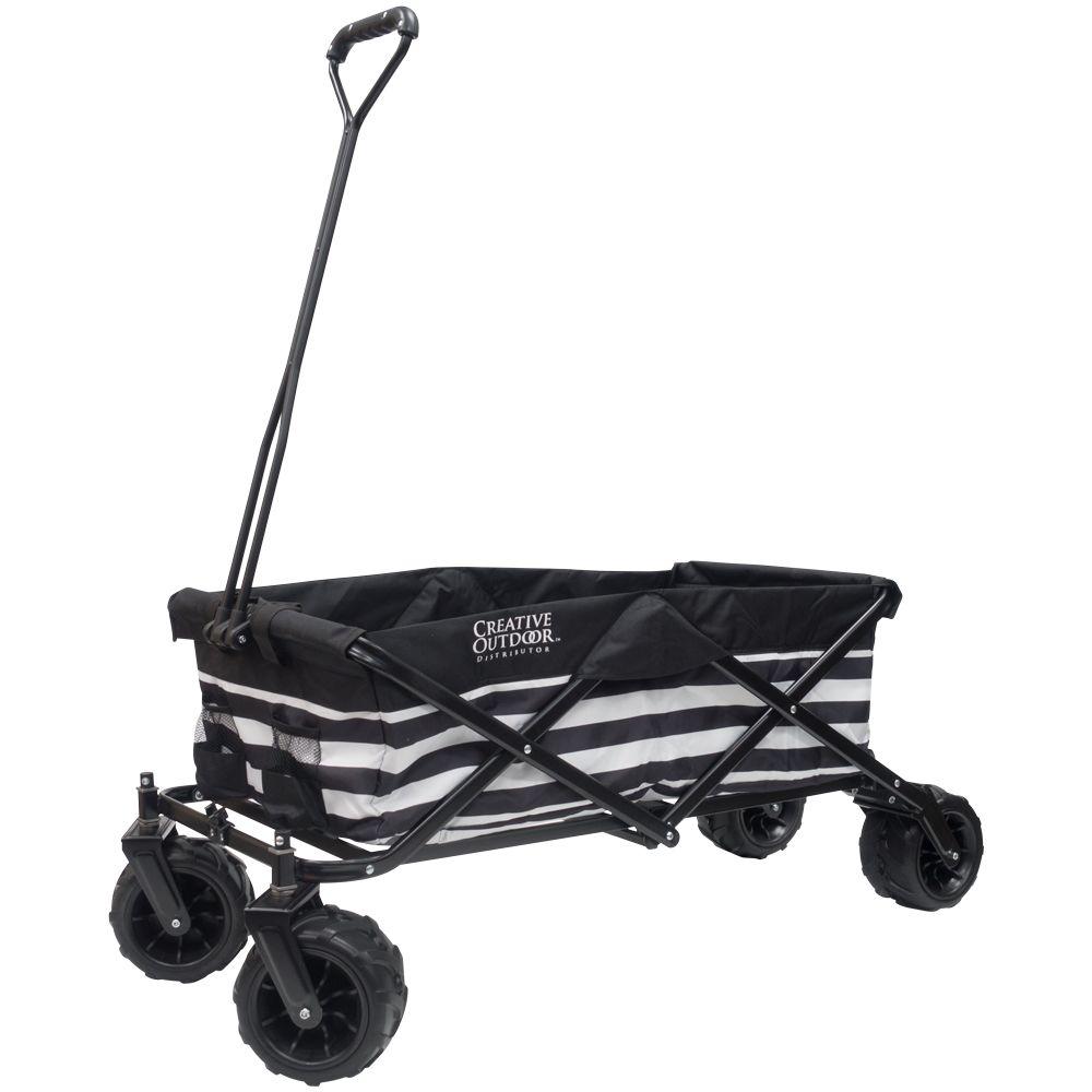 Creative Outdoor All-Terrain Big Wheels Folding Wagon in Black & White Stripes