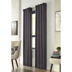 Home Decorators Collection City Menswear, Black, Light Filtering, Solid Menswear Look, Grommet Panel 52-inch x 84-inch