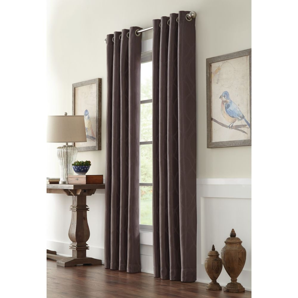 Home Decorators Collection Providence, Charcoal, Room Darkening, Geo Jacquard, Grommet Panel 52-inch x 84-inch