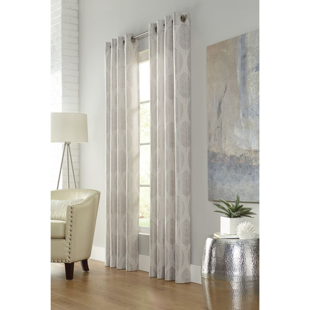 Home Decorators Collection Leafy, Linen, Light Filtering, Faux Linen Jacquard, Grommet Panel 52-inch x 84- inch