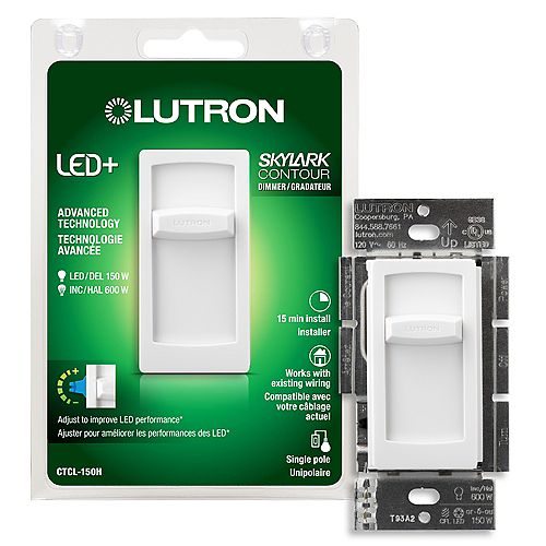 Lutron Skylark Contour LED+ Dimmer Switch for Dimmable LED/Hal/Incand Bulbs, Single-Pole, White
