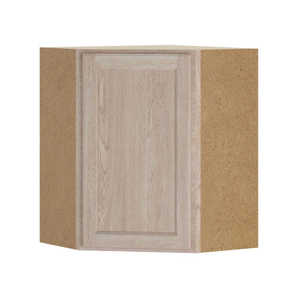Hampton Bay Stratford - Assembled 24x30x24 in. Corner Wall Cabinet in Unfinished Oak