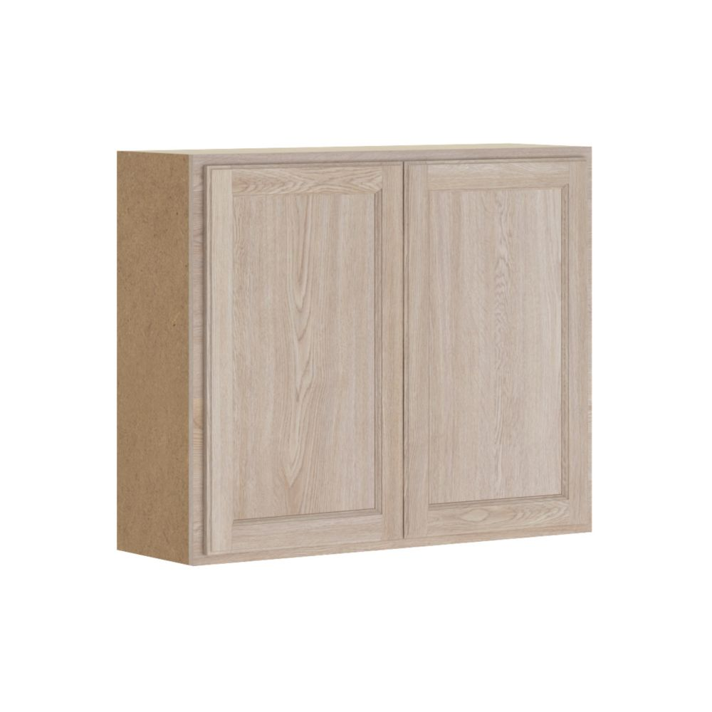 Hampton Bay Stratford - Assembled 36x30x12 in. Wall Cabinet in Unfinished Oak