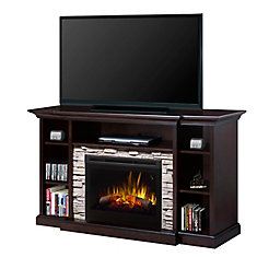 Courtyard electric fireplace entertainment unit with 25