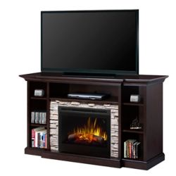 "Dimplex Courtyard electric fireplace entertainment unit with 25"" firebox with logs, espresso finish"
