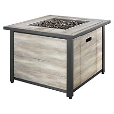 35-inch Square Distressed Wood Propane Fire Table