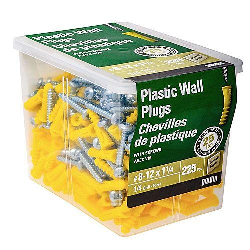 Paulin #8-12 x 1-1/4-inch Plastic Wall Plug with Screw - 225pcs