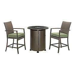 Hampton Bay Mobilier de salle à manger haut avec table à foyer en osier classique de 3 pièces