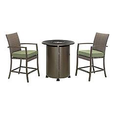 Mobilier de salle à manger haut avec table à foyer en osier classique de 3 pièces