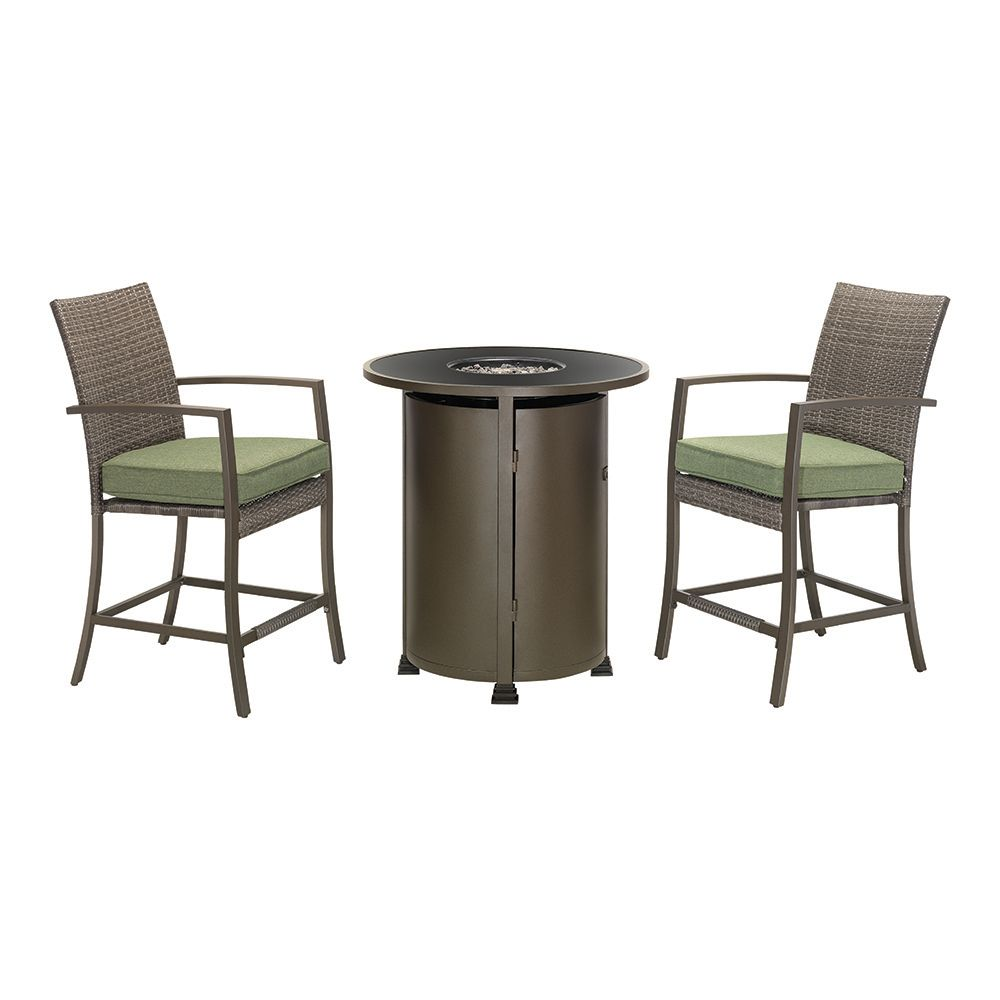 Hampton Bay 3-Piece Classic Wicker High Dining Fire Table Set