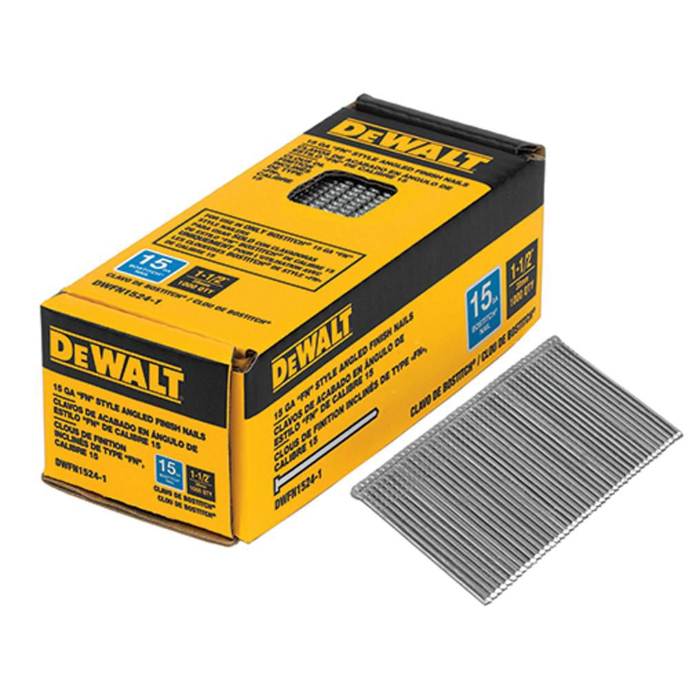 1-1/2-inch x 15-Gauge Glue Collated Angled Bright Finish Nails (1,000 per Box)