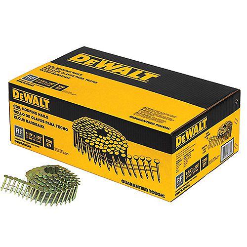 DEWALT 1-1/4-inch x 0.120-Gauge Wire Electro-Galvanized Steel Coil Roofing Nails (7,200-Pack)