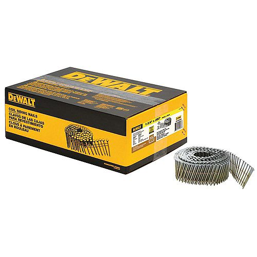 DEWALT 1-3/4-inch x 0.080-inch Galvanized Metal Ring Shank Coil Nails (4200-Pieces)
