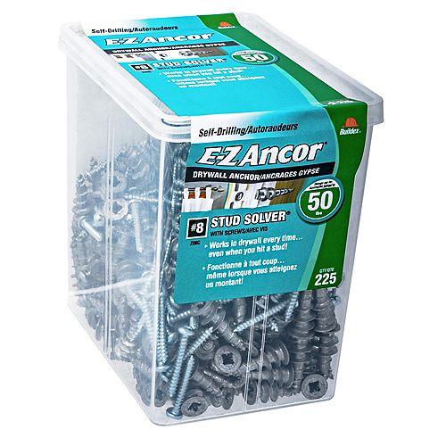 E-Z Ancor® Ancre de cloison sèche autoperceuse #8 Stud Solver(R) en zinc avec vis - 225 pcs