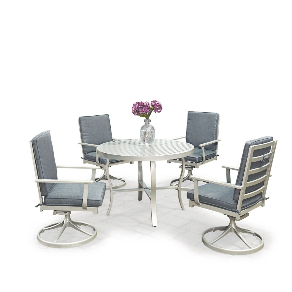 Homestyles South Beach 5-Piece Round Outdoor Dining Table & 4 Swivel Rocking Chairs
