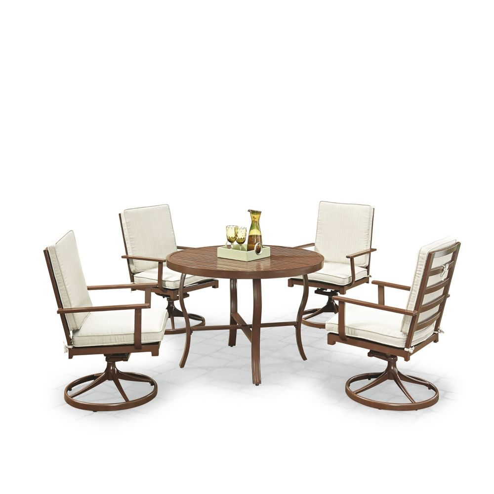 Key West 5-Piece Round Outdoor Dining Table & 4 Swivel Rocking Chairs