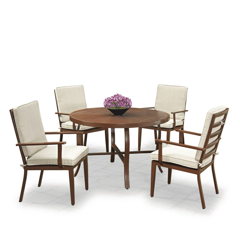 Homestyles Key West 5-Piece Round Outdoor Dining Table & 4 Chairs