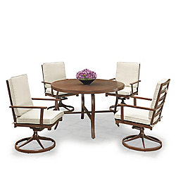 Homestyles Key West 5-Piece Round Outdoor Dining Table & 4 Swivel Rocking Chairs