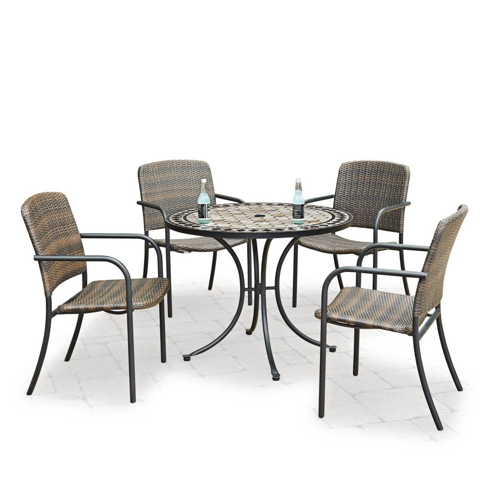 Homestyles Marble Top 5-Piece Round Outdoor Dining Table & 4 Chairs