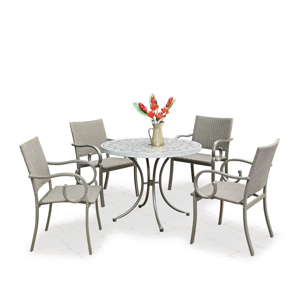 Homestyles Capri 5-Piece Concrete Stenciled Round Outdoor Dining Set