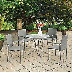 Umbria Béton Tile 5 Pc Round Outdoor Table & 4 Chaises