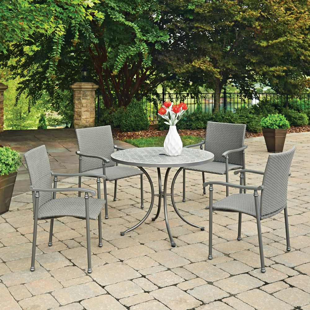 Umbria Concrete Tile 5-Piece Round Outdoor Table & 4 Chairs