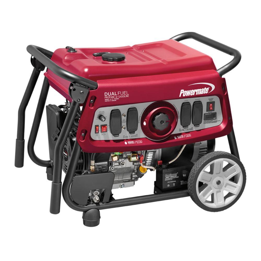 Watt Meter Home Depot Canada: Powermate 7500W Dual Fuel Portable Generator With Electric