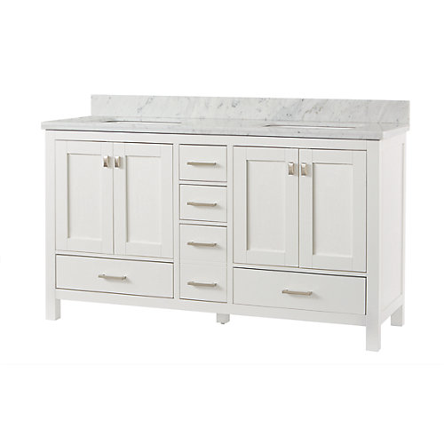 Franklin Square Collection 60-inch Bathroom Vanity in White with Carrera White Stone Top