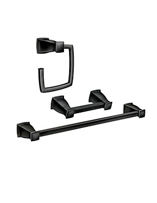 Moen Hensley 3 Piece Bath Accessory Kit With Presark In Matte Black The Home Depot Canada