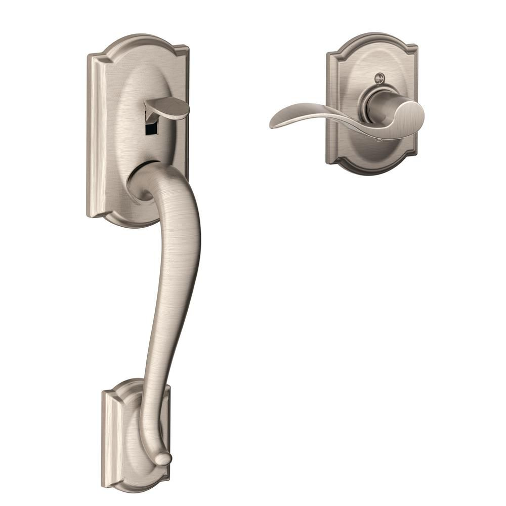 Schlage Camelot Lower Half Handleset and Accent Lever in Satin Nickel