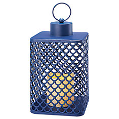 Metal Navy Lantern With Melted Top Flameless Candle