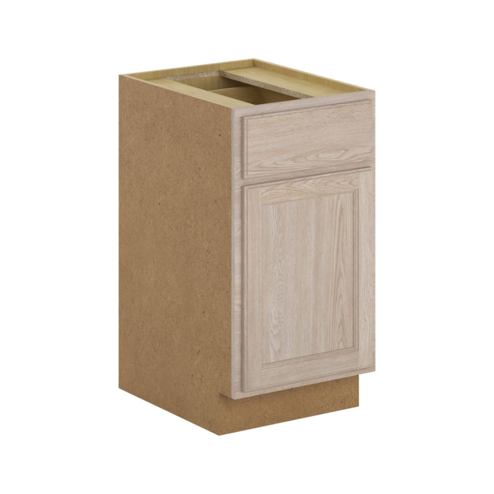 Hampton Bay Stratford - Assembled 18x34.5x24 in. Base Cabinet with Soft Close Drawer in Unfinished Oak