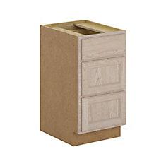 Stratford - Caisson de bas 3 tiroirs fermeture en douceur 18x34.5x24 po. assemblé en chêne naturel