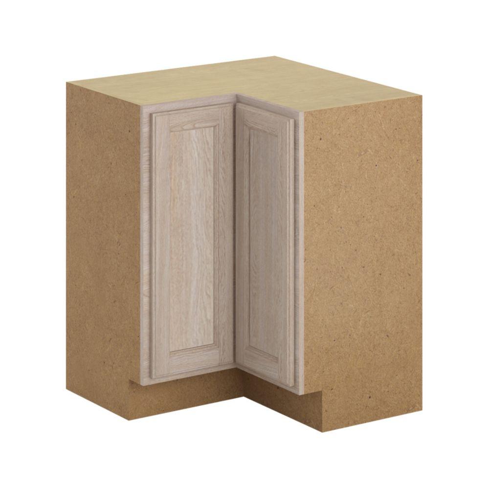Hampton Bay Stratford - Assembled 28.5x34.5x28.5 in. Lazy Susan Corner Base Cabinet in Unfinished Oak