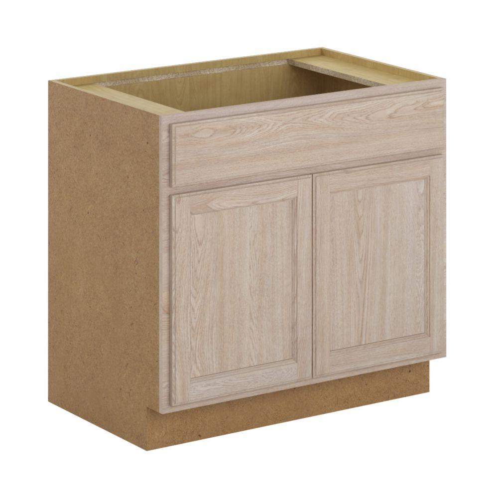 Hampton Bay Stratford - Assembled 36x34.5x24 in. Sink Base Cabinet in Unfinished Oak