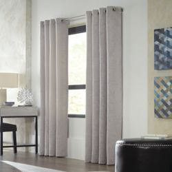 Home Decorators Collection Avignon, Grey, Light Filtering, Textured Faux Linen, Grommet Panel 52-inch x 84-inch