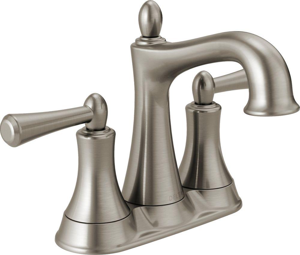Delta Rila 2-Handle Centerset Lavatory Faucet in Brushed Nickel