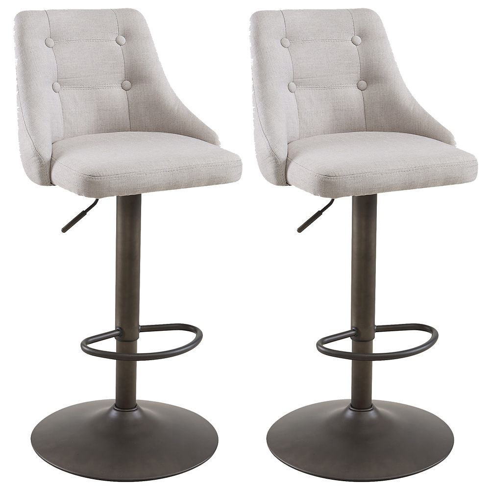 Metal Contemporary Full Back Armless Bar Stool with Beige Polyester/Polyester Blend Seat - Set of 2