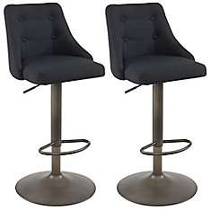 Adyson Metal Contemporary Full Back Armless Bar Stool with Black Polyester Seat - (Set of 2)