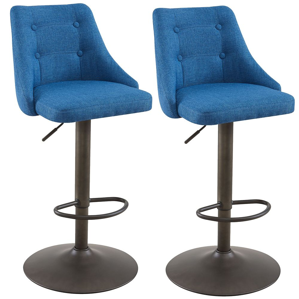 Metal Contemporary Full Back Armless Bar Stool with Blue Polyester/Polyester Blend Seat - Set of 2