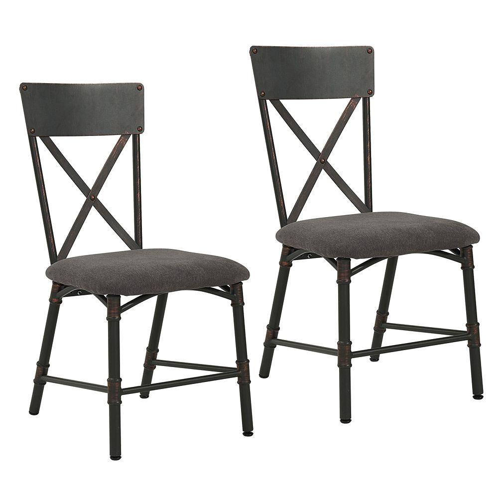 !nspire Bronx Metal Black Slat Back Armless Dining Chair with Grey Polyester/Polyester Blend Seat - Set of 2